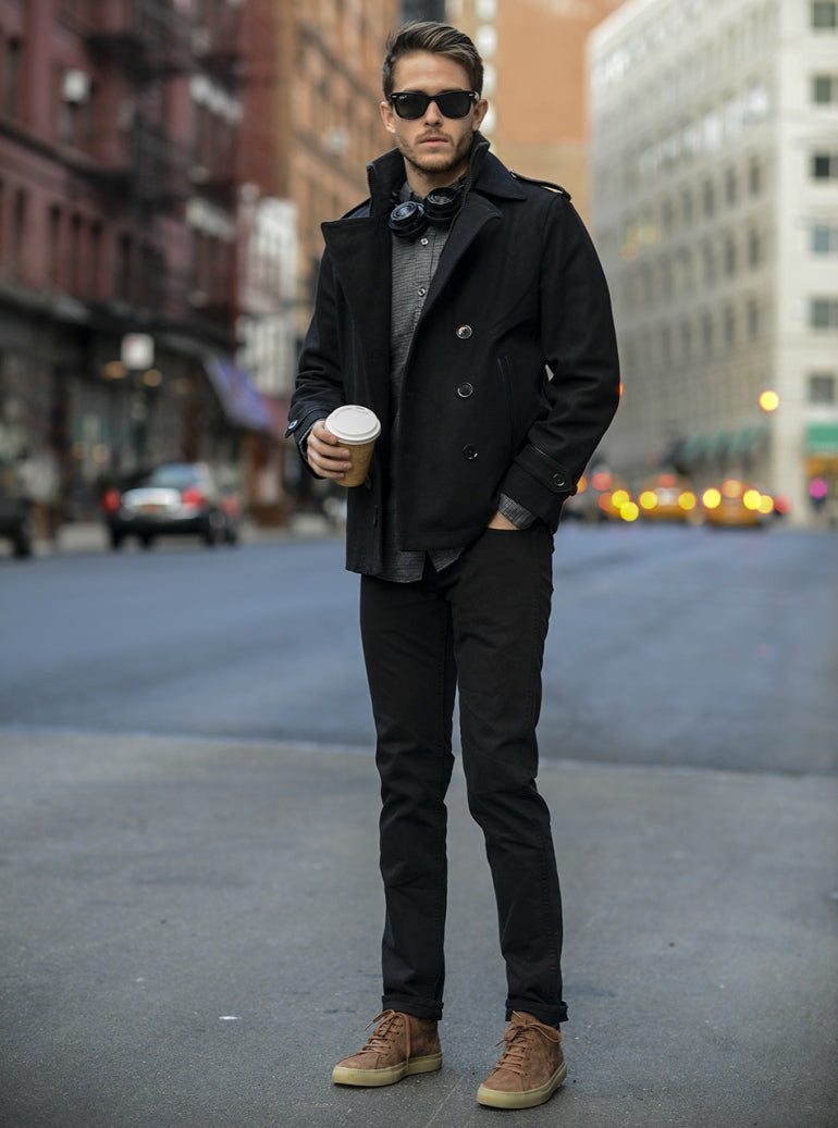 adam gallagher black jeans brown shoes mens street style