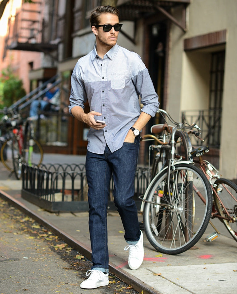 adam gallagher casual shirt jeans mens street style