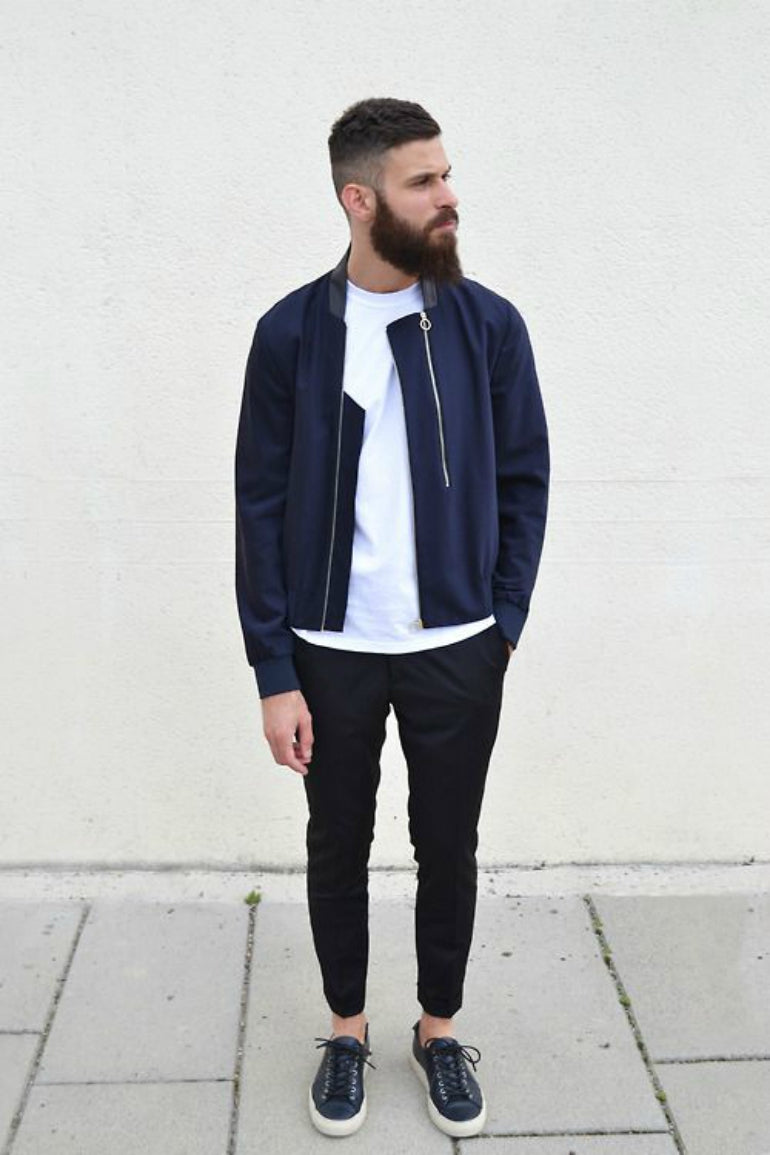 d42cb9455ae ... wear. alkarus navy bomber jacket white t-shirt black chinos mens street  style Trousers ...