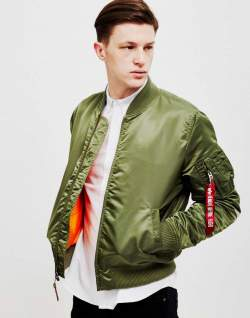 alpha industries green bomber jacket men