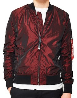 alpha industries ma 1 lw iridium burgundy bomber jacket for men