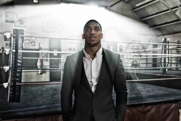 anthony joshua black suit white shirt mens steet style