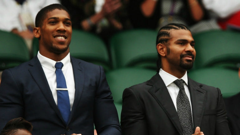 anthony joshua navy suit wimbledon david haye black suit wimbledon
