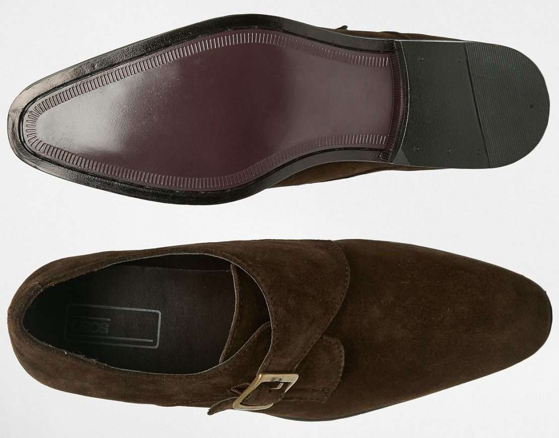 mens brown suede single strap monk shoes