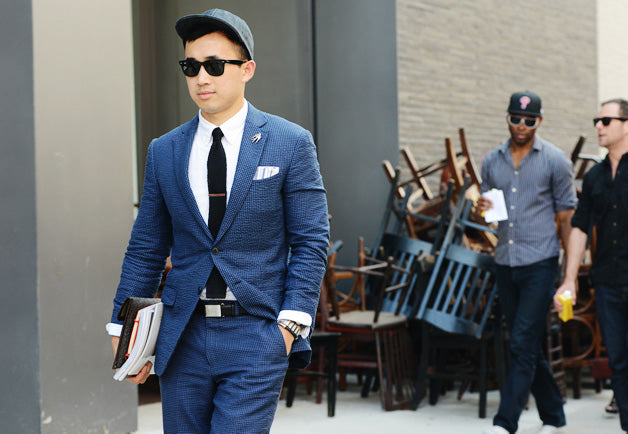 baseball cap and suit mens street style