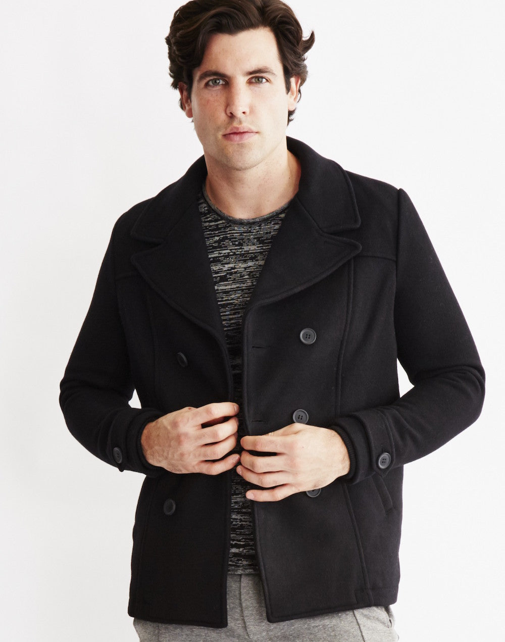mens black pea coat only sons