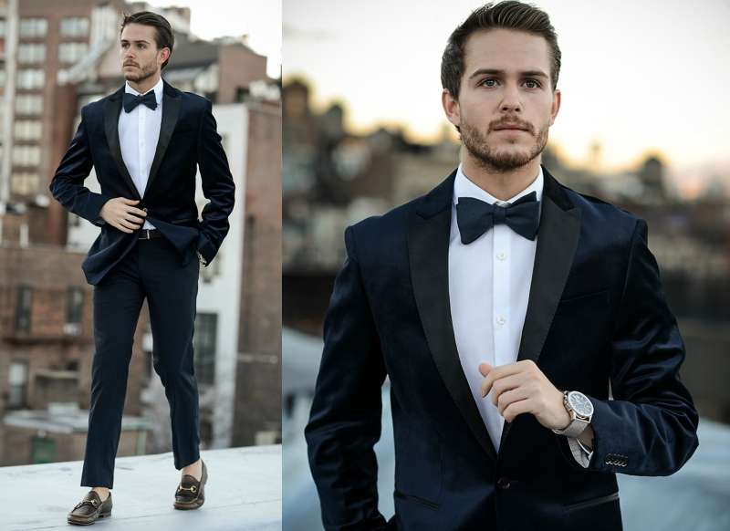 black suit bow tie men