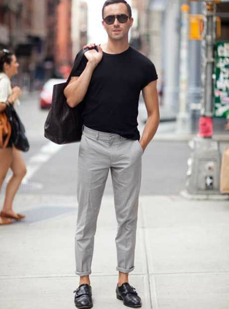 black t-shirt grey chinos mens street style