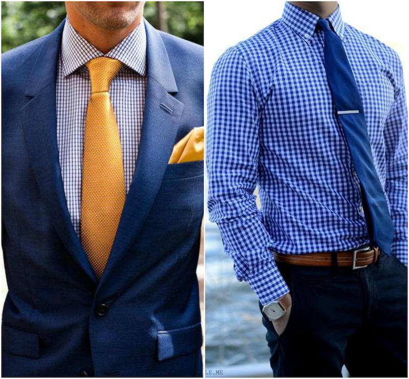 blue checkered shirt and tie combination