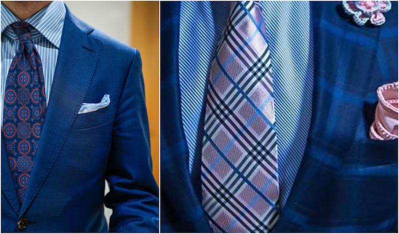 blue patterned shirts with patterned ties