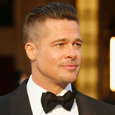 brad pitt short pompadour haircut hairstyle for men