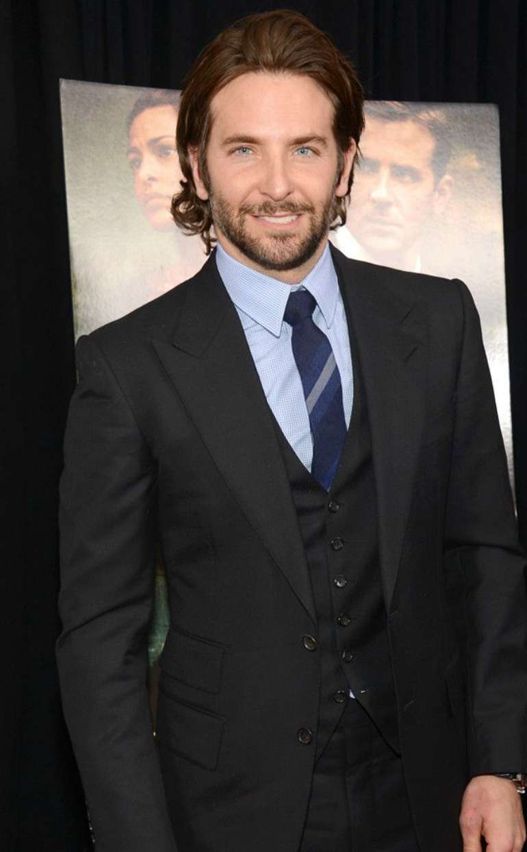 bradley cooper black suit blue shirt mens street style