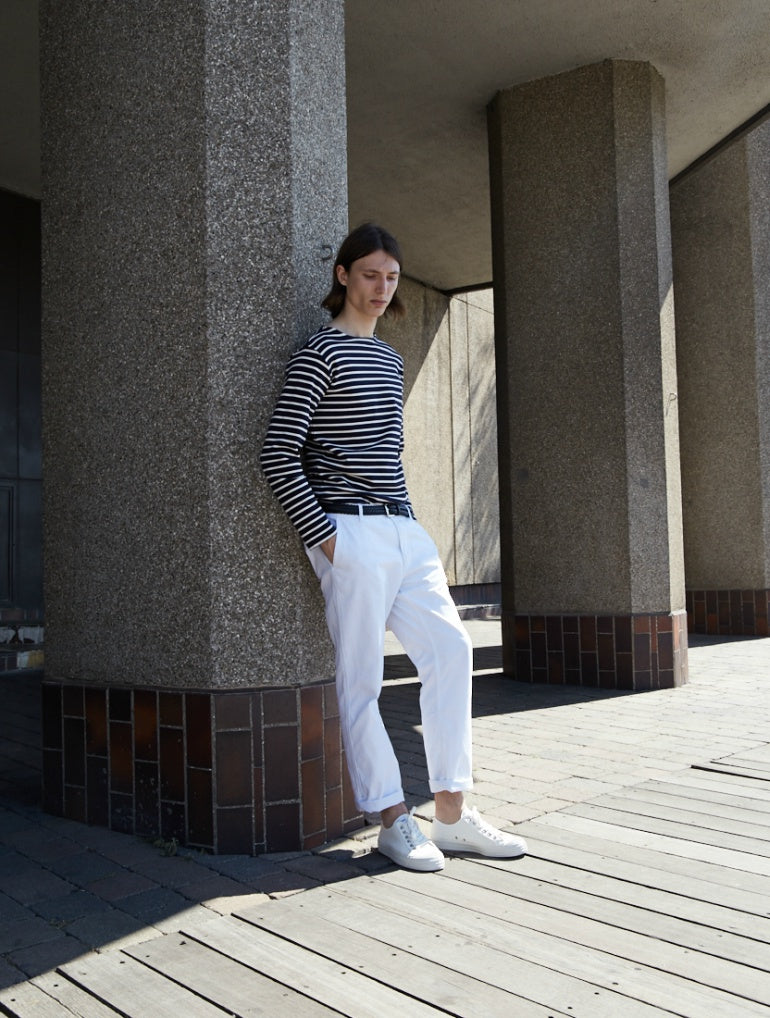 breton striped t-shirt white chinos mens street style
