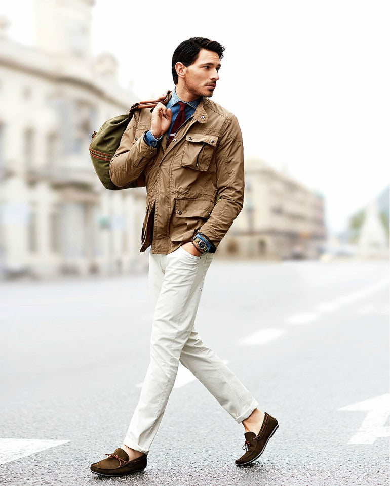 brown-driver-shoes-white-chinos-worker-jacket