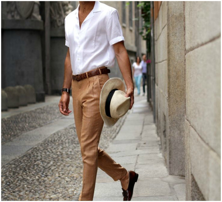 brown trousers white shirt loafers mens style
