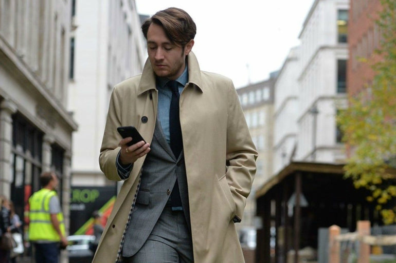camel trench coat mens street style