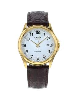 mens casio watch gold face leather strap