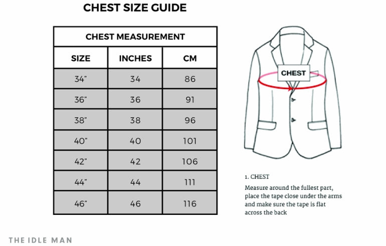 chest jacket size guide mens
