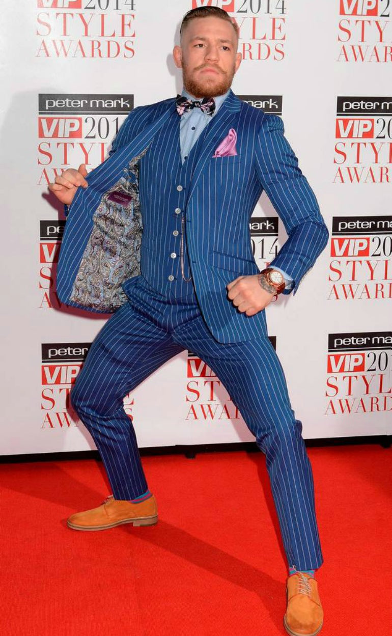 conor mcgregor blue suit brown shoes mens street style