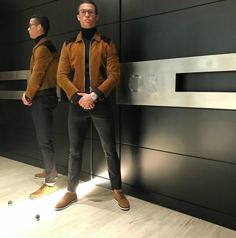 cristiano ronaldo brown suede bomber jacket black jeans mens street style