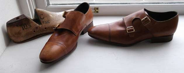 mens brown and tan double monk strap shoes