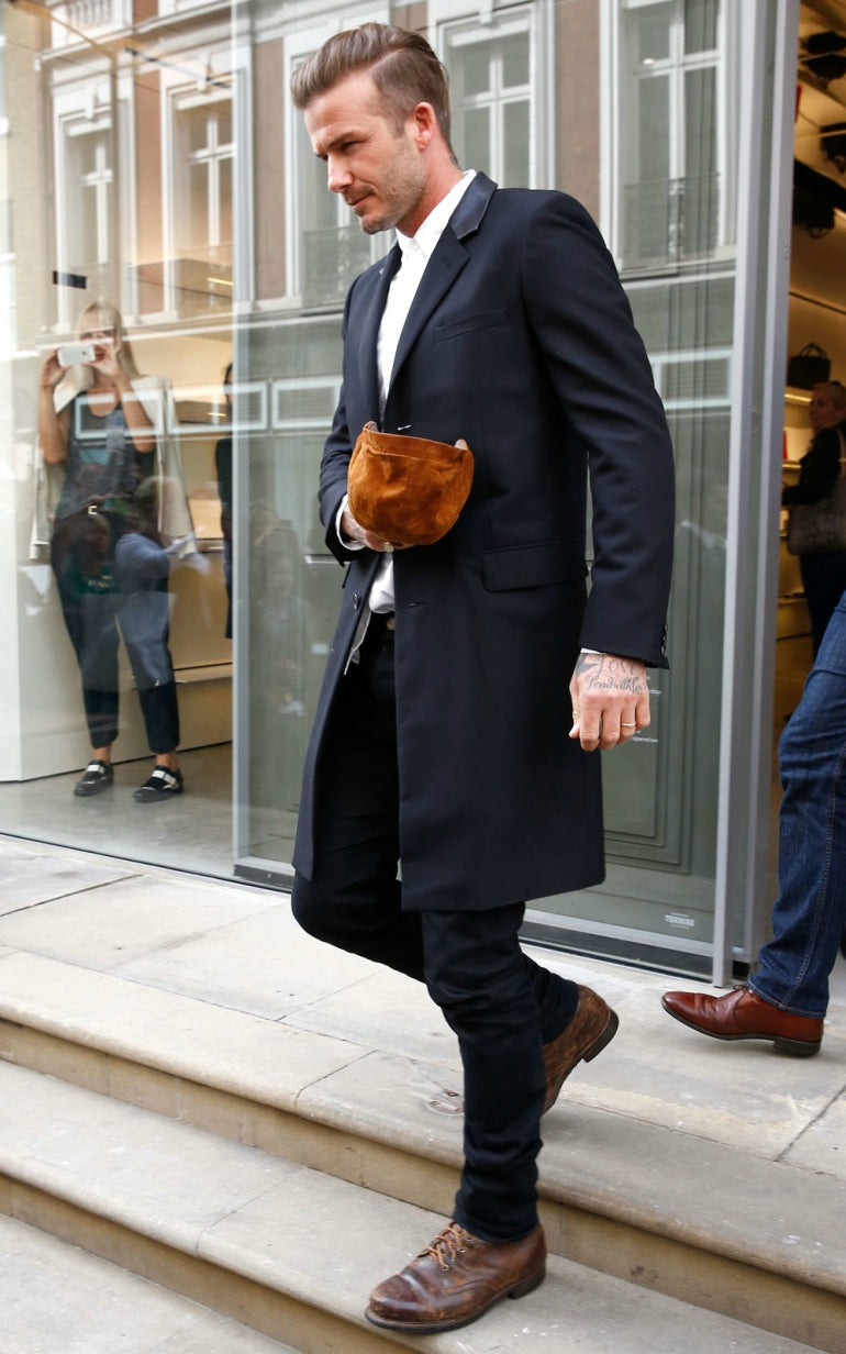 david beckham brown boots black trousers black coat mens street style