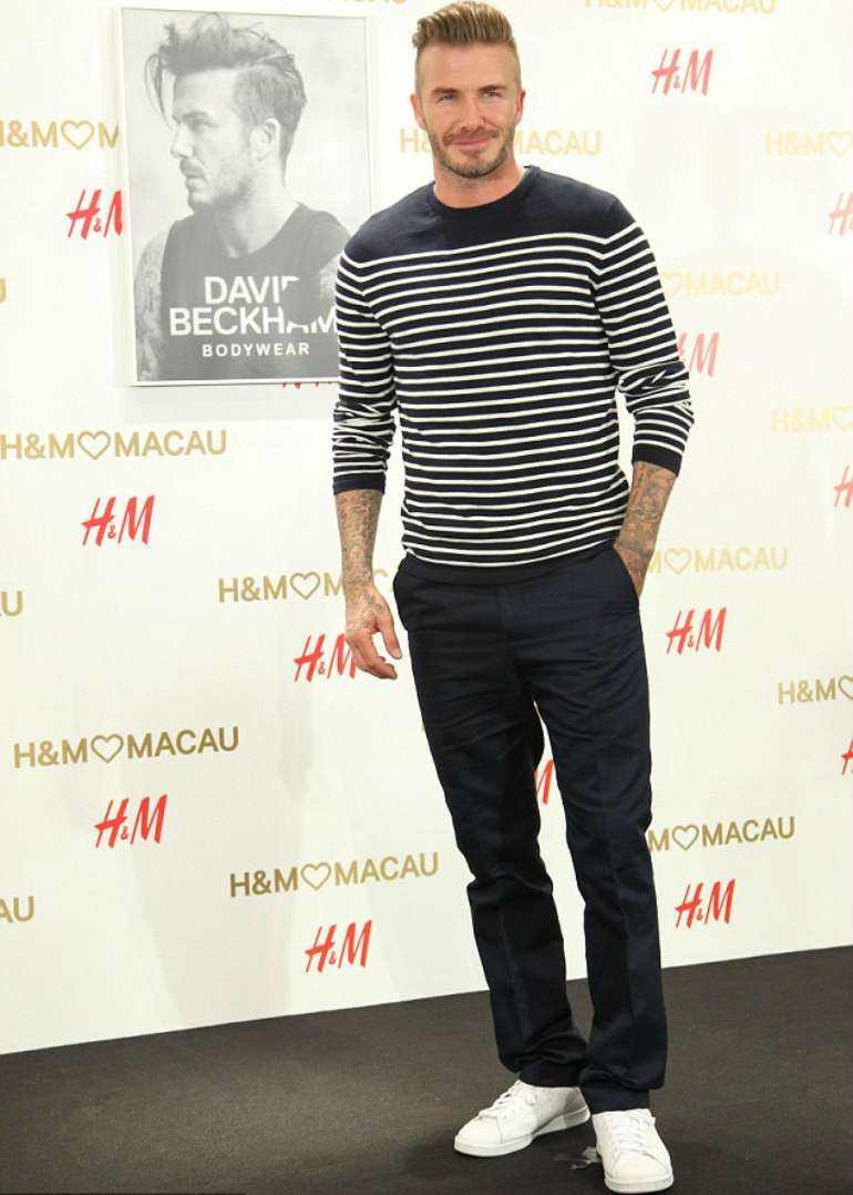 david beckham striped t-shirt mens street style