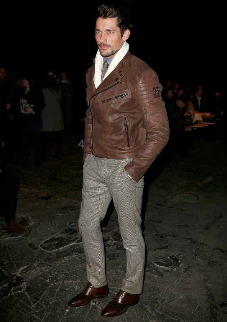 david-gandy-tweed-trousers-brown-leather-jacket-smart-shoes