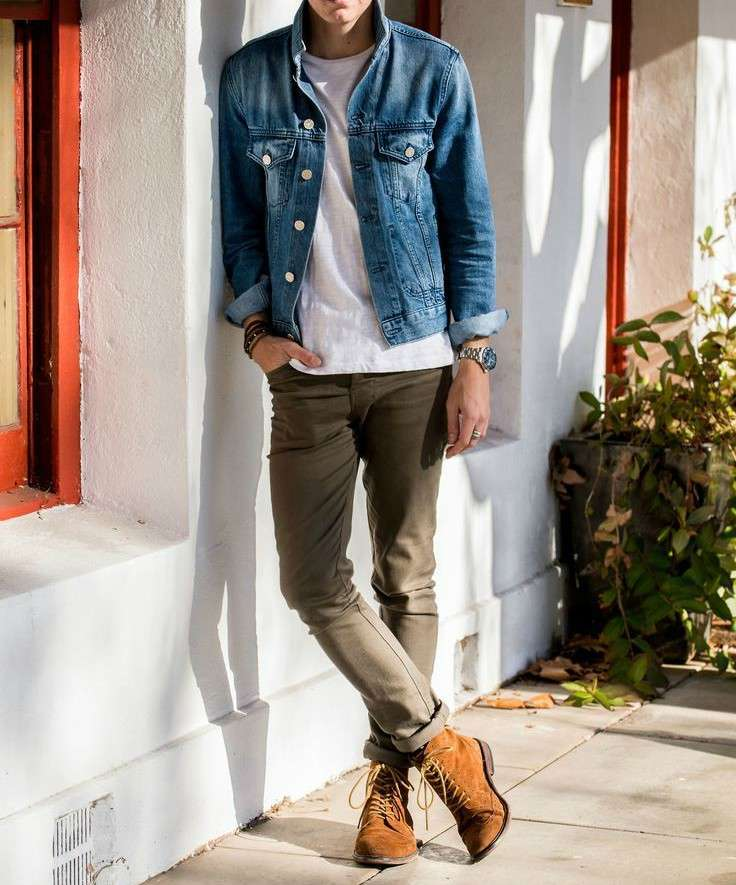 mens denim jacket green trousers tan boots