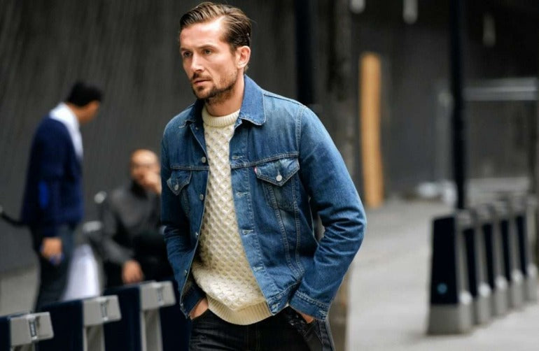 denim jacket street style men