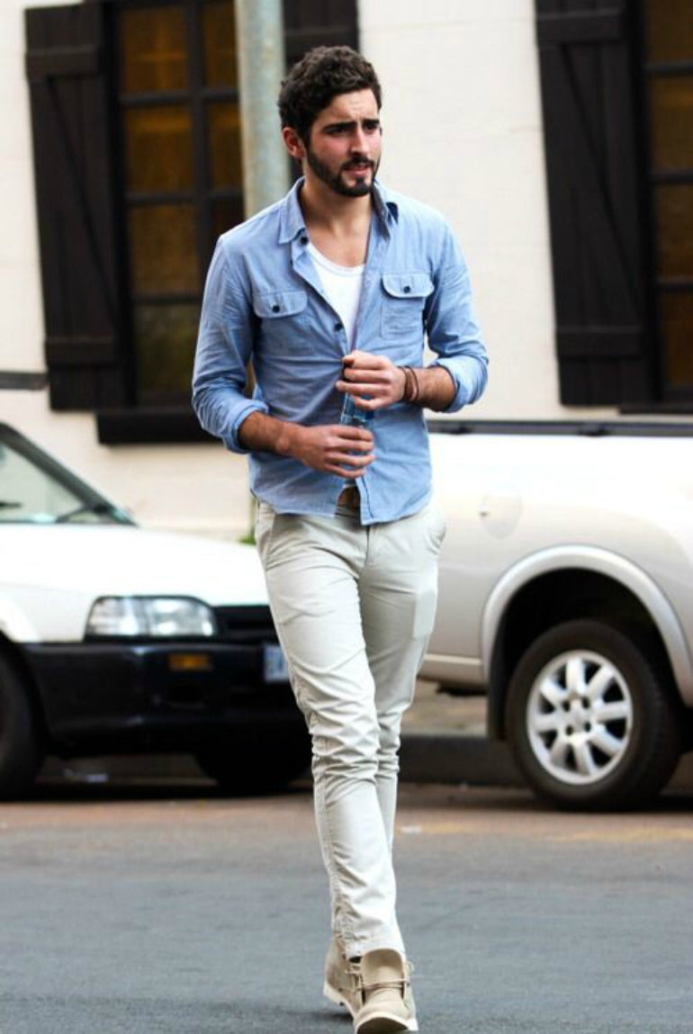 denim shirt white t-shirt and chinos mens street style