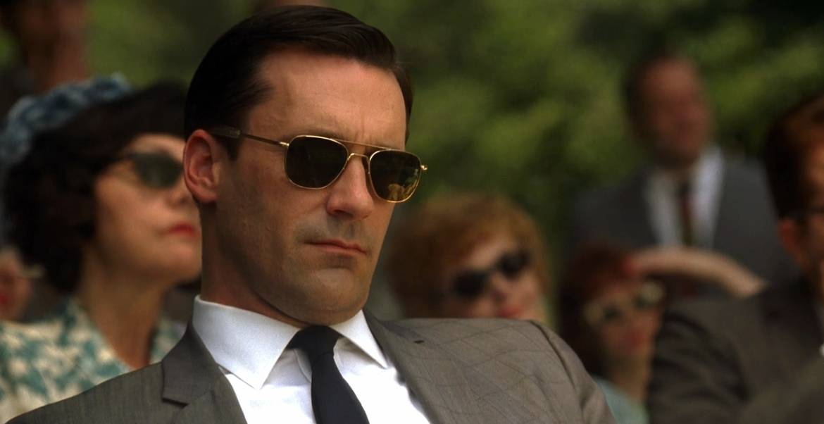 don draper mens sunglasses and suit street style