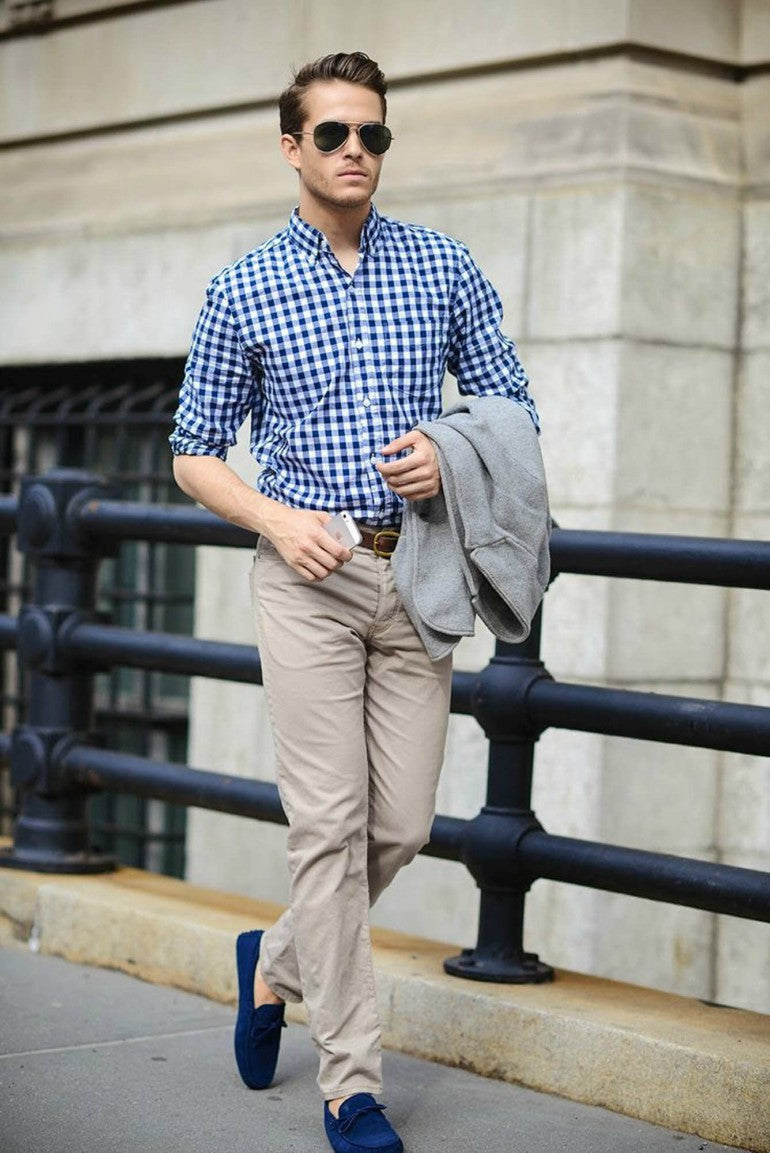 driver shoes blue beige chinos checked shirt sunglasses