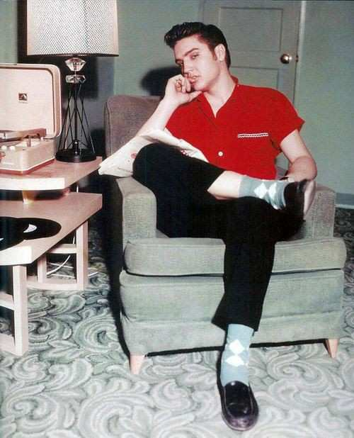 elvis presley red shirt black trousers penny loafers