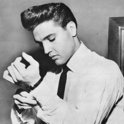 elvis white shirt pompadour