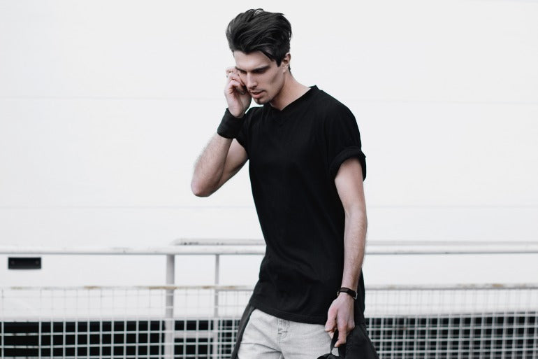 fitted black t shirt mens