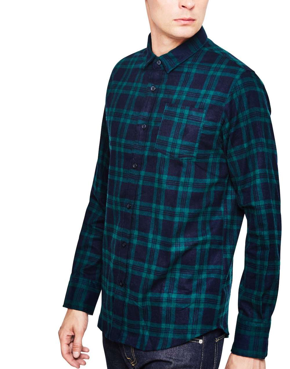 the idle man mens flannel green check shirt