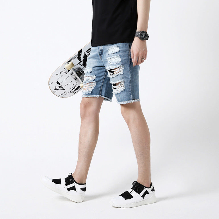 frayed denim shorts holes mens