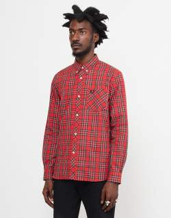 fred-perry-long-sleeve-tartan-shirt-red
