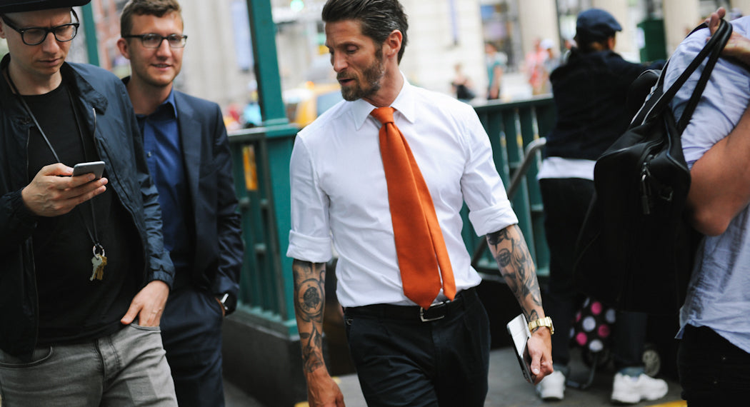 white shirt with rolled sleeves mens street style