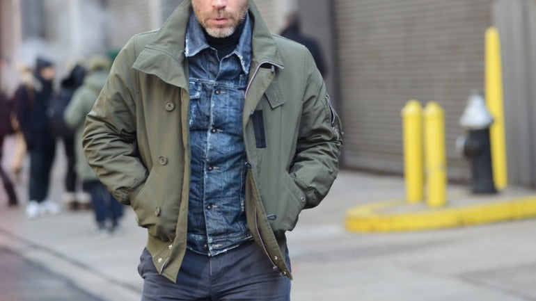 green military coat street style