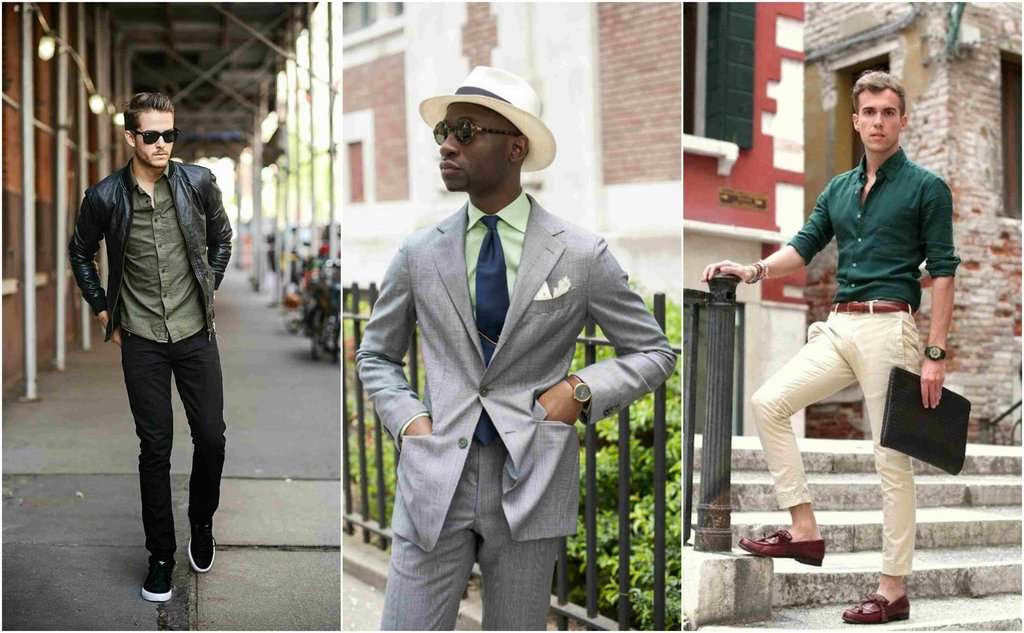 green shirts mens street style