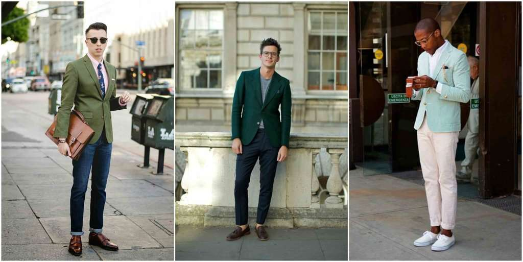 green suit jacket mens street style