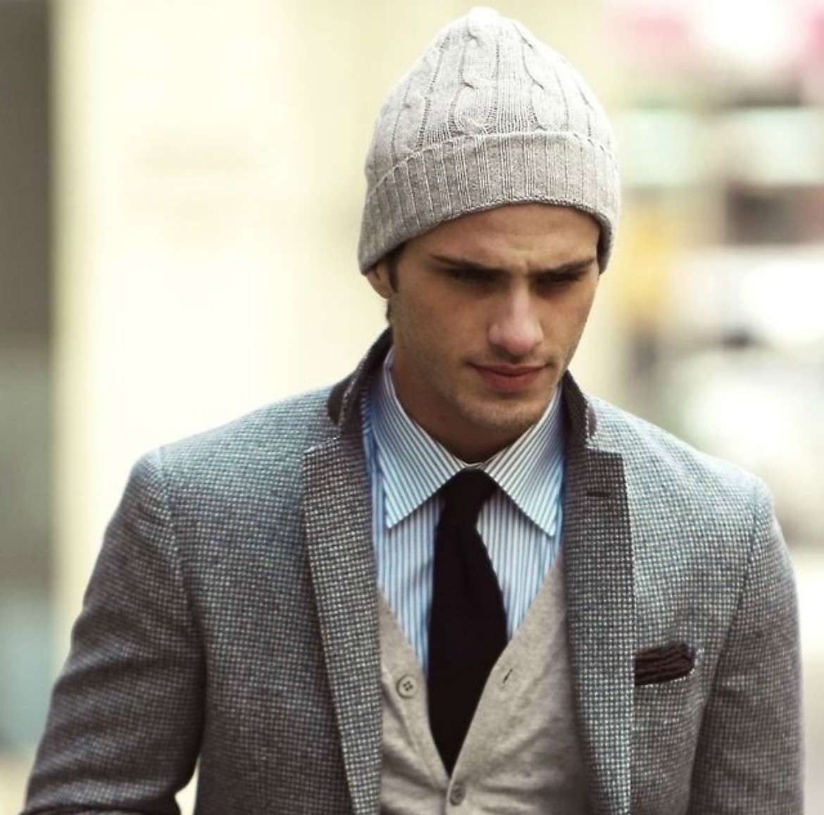 ... mens grey beanie and blazer 6041a9d7066