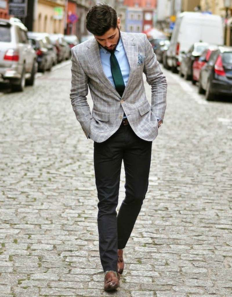 grey blazer black pants men look