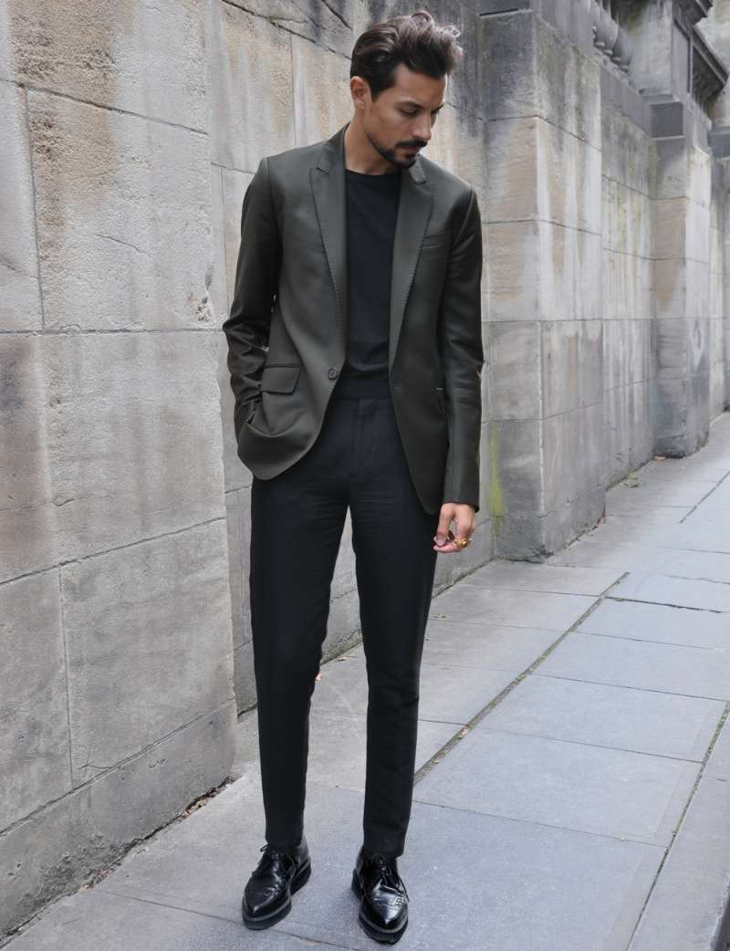 grey blazer black pants men