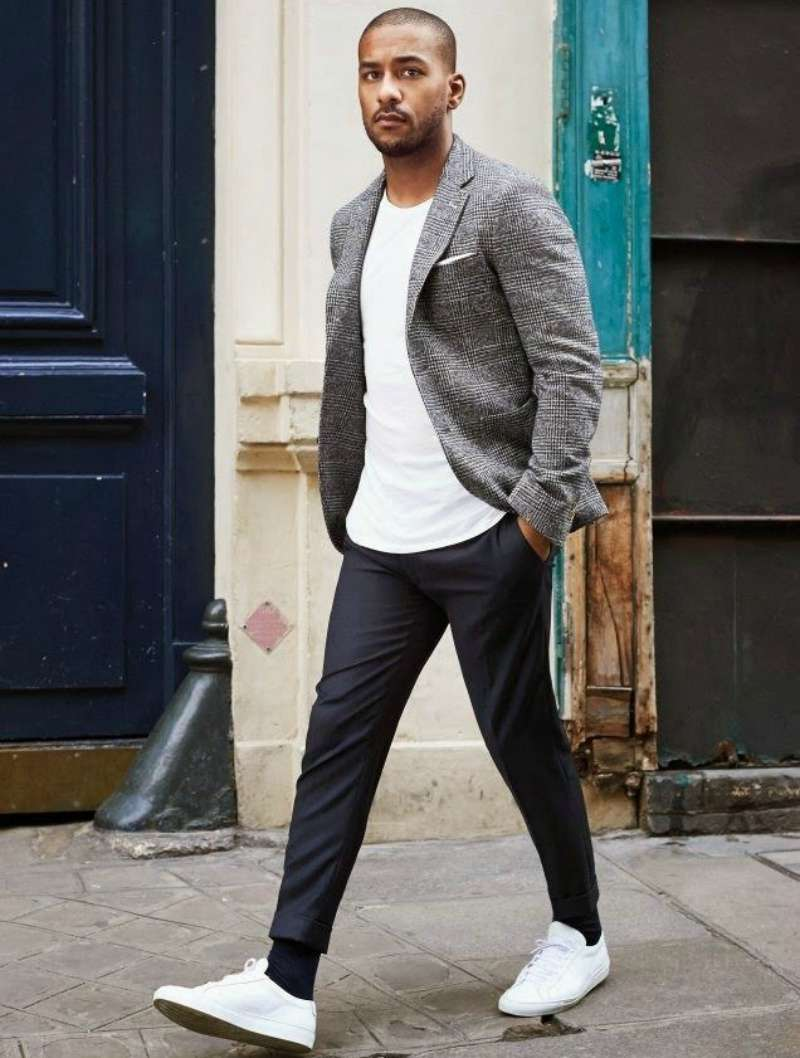 grey blazer with black pants men