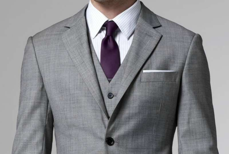 eaa193a73 grey suit purple tie white shirt grey waistcoat white pocket square mens  style