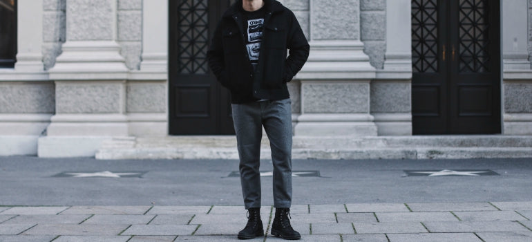 grey trousers and boots men streetstyle