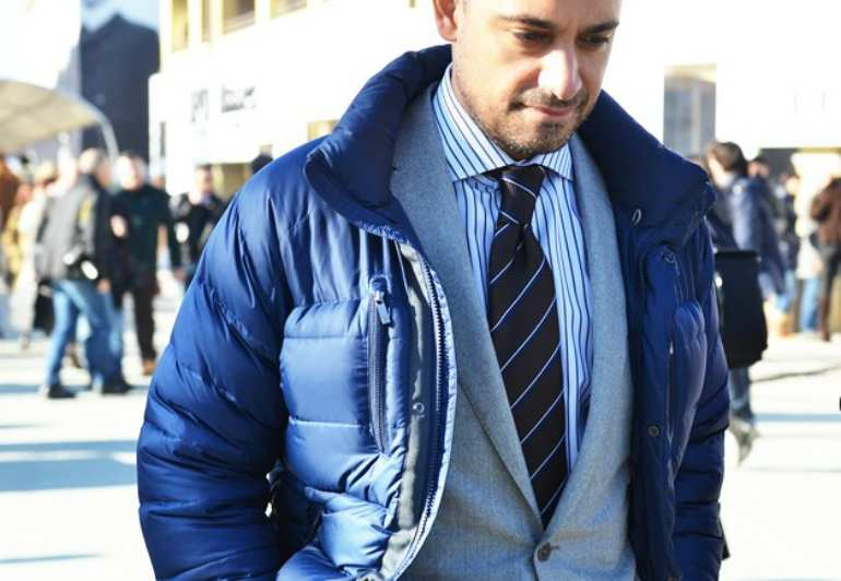 how to wear a blue parka mens street style